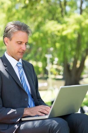 Businessman using laptop in park photo
