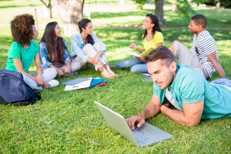 college campus: Group of students studying at college campus