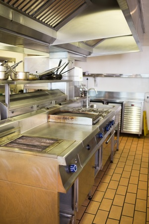 View of a kitchen in the restaurant photo