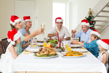 Multigeneration family toasting wine while having Christmas meal at home photo