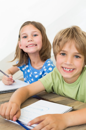 Portrait of cute siblings coloring at table in house photo