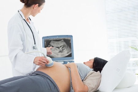 Doctor performing ultrasound on belly of pregnant woman in clinic photo