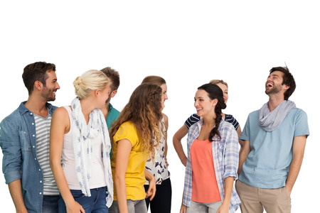 casually: Group of casually dressed happy young people over white background Stock Photo