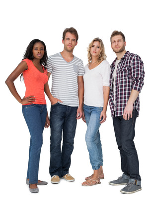 casually: Full length of casually dressed young people over white background