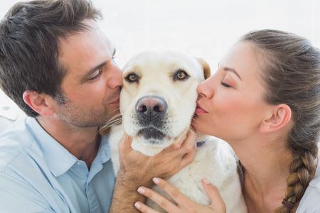 pareja besandose: Feliz pareja besándose su labrador amarillo en el sofá en casa, en la sala de estar
