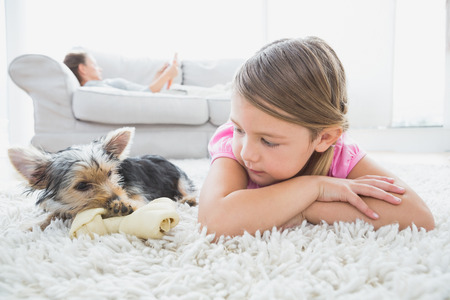Little girl lying on rug with yorkshire terrier at home in the living room Stock Photo