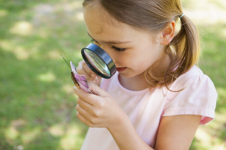 Young girl examining a butterfly with magnifying glass at the park photo