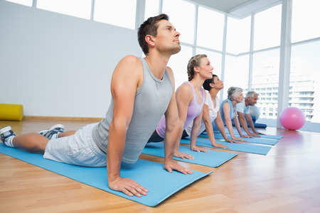 yoga class: Fitness group doing cobra pose in row at the yoga class