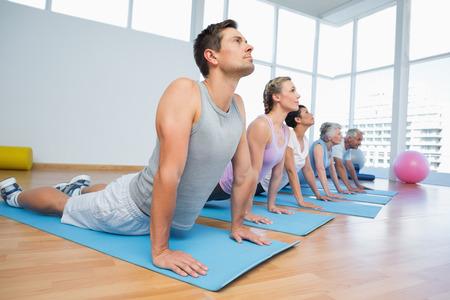 serpiente cobra: Grupo de la aptitud que hace actitud de la cobra en la fila en la clase de yoga