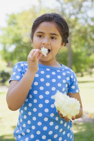 algodon de azucar: Retrato de una hermosa niña comiendo algodón de azúcar en el parque