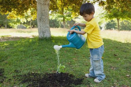 ni�o parado: Vista lateral de un joven regar una planta joven en el parque