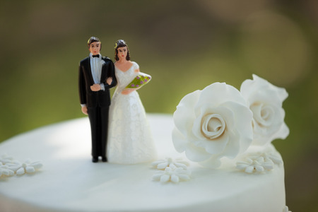 Close-up of figurine couple on wedding cake at the park photo
