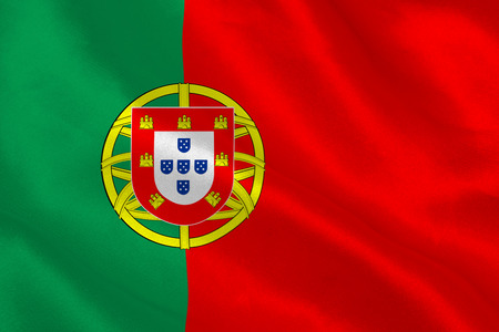portugese: Portugese flag rippling Stock Photo
