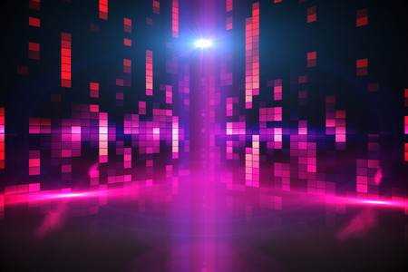 Digitally generated disco background in purple Stock Photo