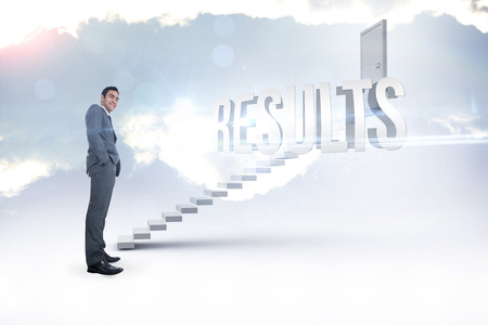 The word results and smiling businessman standing against white steps leading to closed door photo