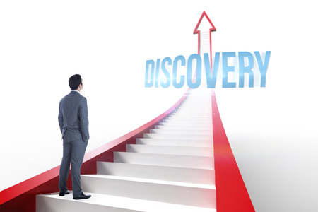 The word discovery and businessman standing against red arrow with steps graphic photo