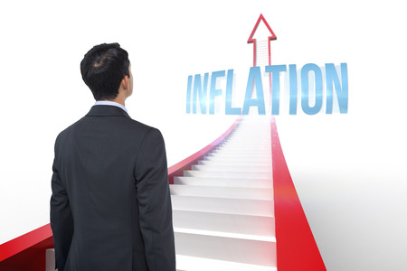 The word inflation and asian businessman against red arrow with steps graphic photo