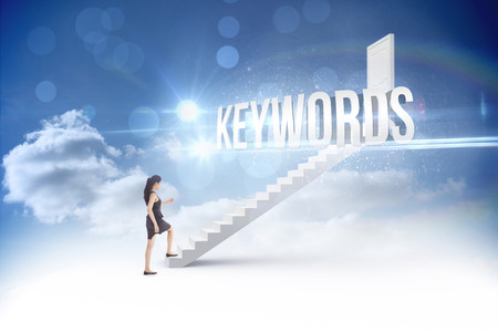 The word keywords and businesswoman stepping up against steps leading to closed door in the sky Stock Photo - 28967964