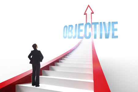 The word objective and businesswoman with hands on hips against red arrow with steps graphic