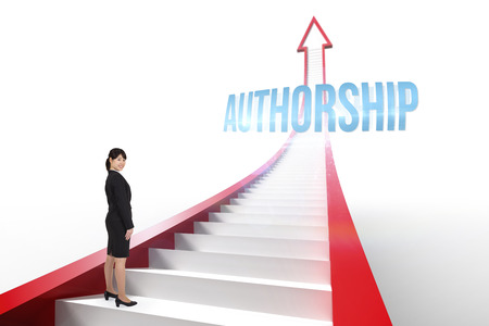 authorship: The word authorship and smiling businesswoman against red arrow with steps graphic