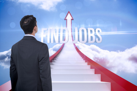 The word find jobs and asian businessman against red steps arrow pointing up against sky photo