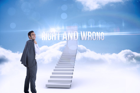businessman standing: The word right and wrong and smiling businessman standing against shut door at top of stairs in the sky