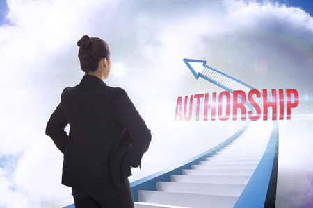 authorship: The word authorship and businesswoman with hands on hips against red staircase arrow pointing up against sky Stock Photo