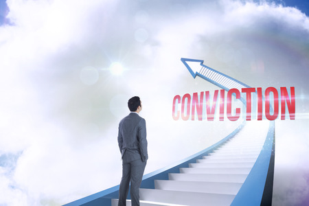 conviction: The word conviction and businessman standing against red staircase arrow pointing up against sky