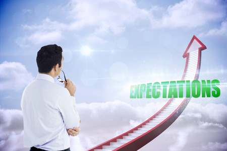 expectations: The word expectations and businessman holding glasses against red stairs arrow pointing up against sky
