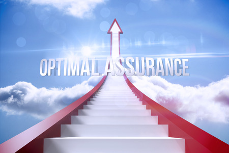 optimal: The word optimal assurance against red steps arrow pointing up against sky