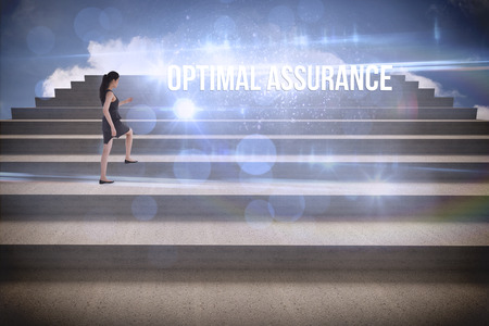 optimal: The word optimal assurance and businesswoman stepping up steps against blue sky Stock Photo