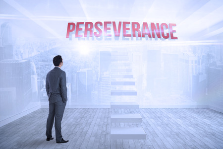 perseverance: The word perseverance and businessman standing against city scene in a room