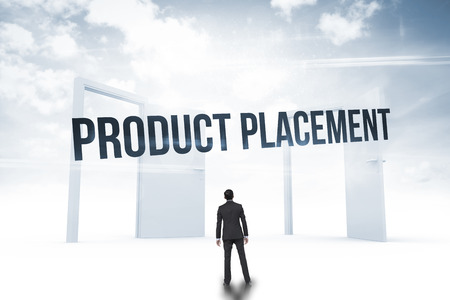 The word product placement and asian businessman against opening doors in sky