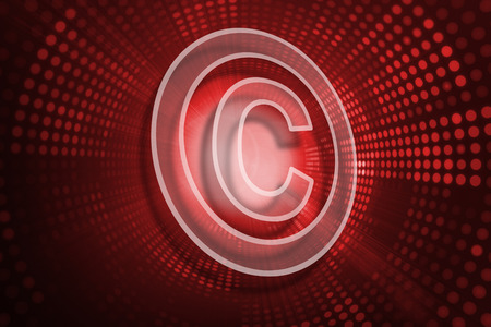 copyright: Copyright symbol against red pixel spiral
