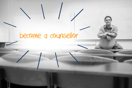 counsellor: The word become a counsellor against lecturer sitting in lecture hall
