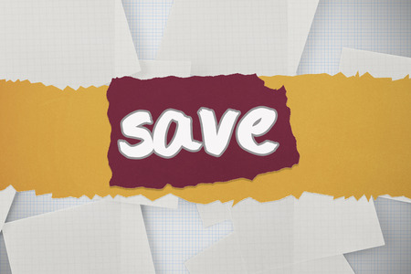 untidy text: The word save against white paper strewn over grid