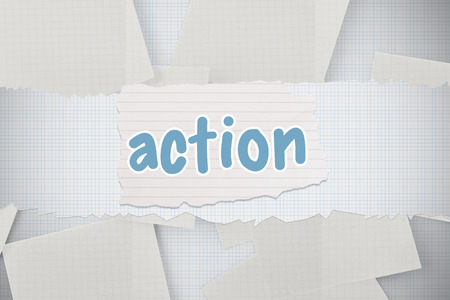 untidy text: The word action against white paper strewn over grid Stock Photo