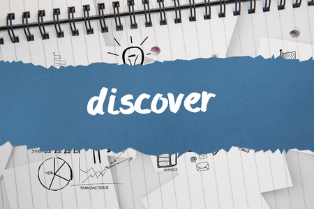The word discover against brainstorm doodles on notepad paper Stock Photo - 28969625