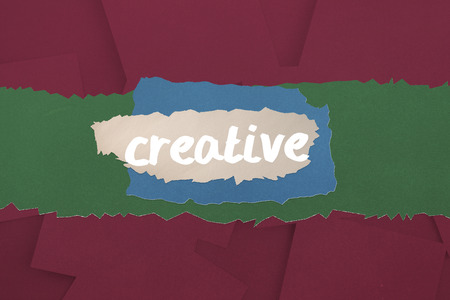 untidy text: The word creative against digitally generated wine paper strewn Stock Photo