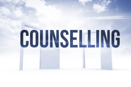 counselling: The word counselling against opening doors in sky Stock Photo