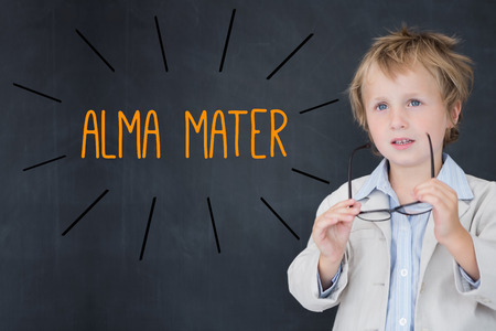 alma: The word alma mater against schoolboy and blackboard