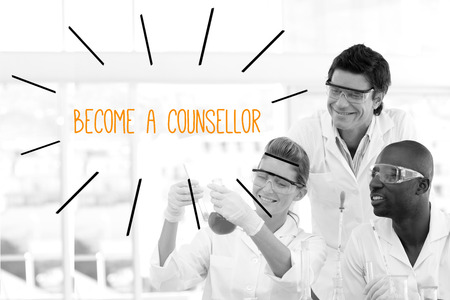 become: The word become a counsellor against scientists working in laboratory Stock Photo