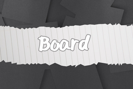 untidy text: The word board against digitally generated grey paper strewn Stock Photo