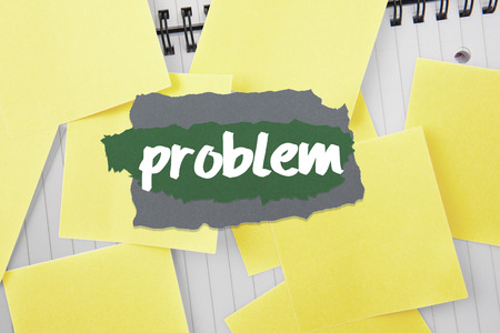 untidy text: The word problem against sticky notes strewn over notepad