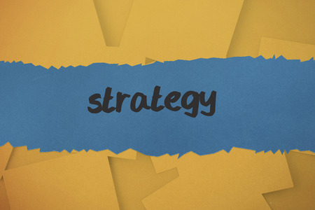 untidy text: The word strategy against digitally generated orange paper strewn