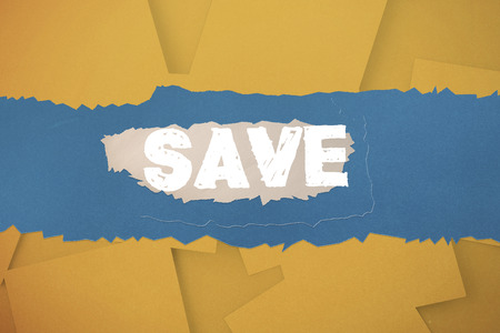 untidy text: The word save against digitally generated orange paper strewn Stock Photo