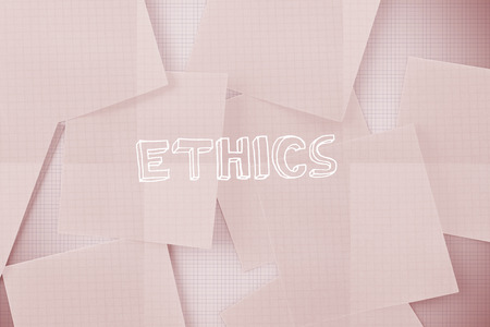 ethics and morals: The word ethics against white paper strewn over grid