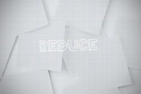 untidy text: The word reduce against digitally generated grid paper strewn Stock Photo
