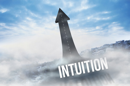 intuition: The word intuition against road turning into arrow