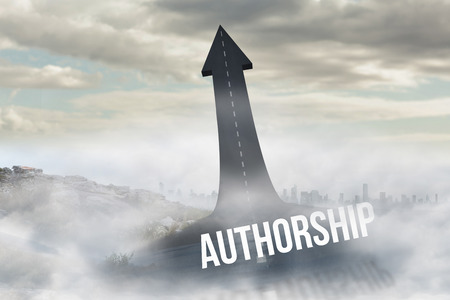 authorship: The word authorship against road turning into arrow Stock Photo